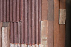 Galvanized iron and wood texture wall Royalty Free Stock Images