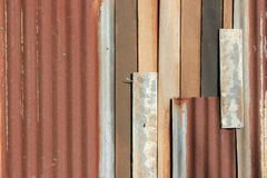 Galvanized iron and wood texture wall Royalty Free Stock Photos