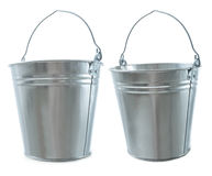 Galvanized metal bucket set on a white background Royalty Free Stock Photos