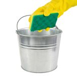 Galvanized pail with cleaning tools. Hand with gloves and galvanized pail,ready to clean! on a white background stock photo