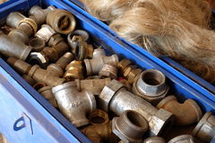 Galvanized pipe fittings Stock Photo