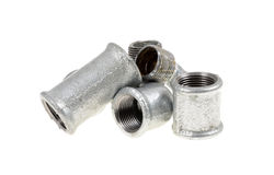 Galvanized plumbing parts Royalty Free Stock Photos
