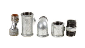 Galvanized plumbing parts Stock Photography