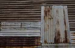 Galvanized rust and old wood. Royalty Free Stock Image
