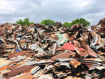 Galvanized Sheet Scrap. Stock Photo