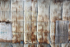 Galvanized sheet used as wall at old town. Songkhla Thailand Stock Images