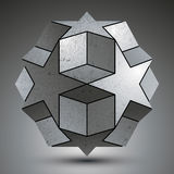 Galvanized spherical 3d object created from star shapes Stock Photo