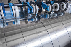 Galvanized steel strips. Processed on the slitting line Royalty Free Stock Image