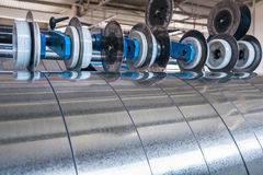 Galvanized steel strips. Processed on the slitting line Stock Photography