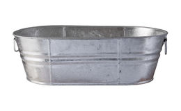 Galvanized Tub with clipping path. On a white background royalty free stock photos