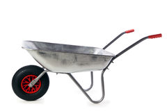 Galvanized wheelbarrow isolated Royalty Free Stock Image