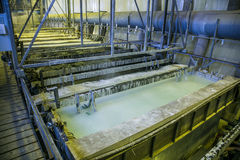 Galvanizing in etching acid containers in galvanic workshop.  royalty free stock photography