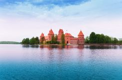 Galve lake and Trakai castle island Stock Photos