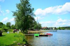 Galves湖和小船在湖视图 免版税库存图片