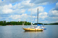 Galves lake and boats in the lake view Royalty Free Stock Photos