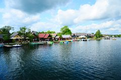 Galves lake,Trakai old city old houses view Royalty Free Stock Photo