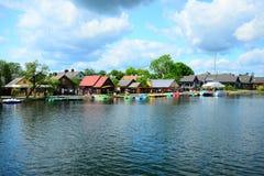 Galves lake,Trakai old city old houses view Royalty Free Stock Photos