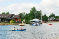 Galves lake,Trakai old city old houses view Royalty Free Stock Photography