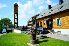 Galves lake,Trakai old city old houses view Royalty Free Stock Image