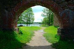 Galves lake,Trakai old red bricks castle view Royalty Free Stock Images