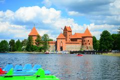 Galves lake,Trakai old red bricks castle view Stock Photo