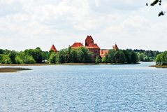 Galves lake,Trakai old red bricks castle view Royalty Free Stock Photos