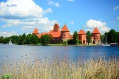 Galves lake,Trakai old red bricks castle view Stock Photography