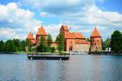 Galves lake,Trakai old red bricks castle view Stock Photo