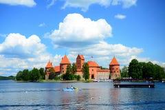 Galves lake,Trakai old red bricks castle view Royalty Free Stock Image