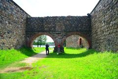 Galves See, alte rote Backsteine Trakai ziehen sich Ansicht zurück Lizenzfreies Stockbild