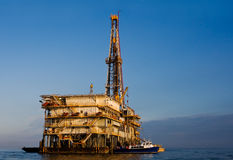 Galveston Bay Rig. Oil or natural gas rig in Galveston Bay, Texas Stock Photos