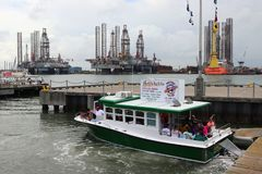 GALVESTON, TEXAS, USA - JUNE 9, 2018: Tourists on a Baywatch Dolphin Tour boat in the Port of Galveston. royalty free stock photo