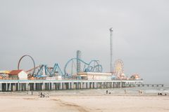 The Galveston Island Historic Pleasure Pier, in Galveston, Texas.  stock photo