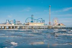 The Galveston Island Historic Pleasure Pier, in Galveston, Texas.  royalty free stock photography