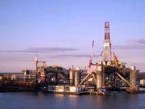 Galveston at Sunset. An oil rig off the shores of Galveston, Texas stock photos
