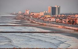 Galveston, Teksas Pejzaży miejskich kolory w wiosna sezonie obrazy royalty free