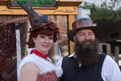 Galveston, TX/USA - 12 06 2014: Couple dressed in vintage style at Dickens on the Strand Festival in Galveston,  TX. Galveston, TX/USA - 12 06 2014: Couple Royalty Free Stock Photography