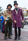 Galveston, TX/USA - 12 06 2014: Pair of men dressed in Victorian style at Dickens on the Strand Festival in Galveston,  TX. Galveston, TX/USA - 12 06 2014: Pair Royalty Free Stock Image