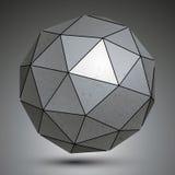 Galwanizująca fasety 3d sfera, grayscale abstrakcjonistyczny przedmiot Zdjęcia Royalty Free