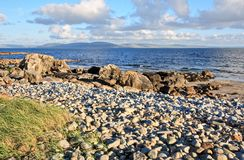 Galway Bay and The Burren. Galway Bay in Ireland with The Burren across the bay Stock Photos