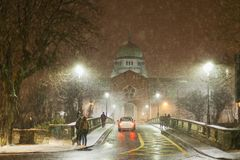 Cathedral during Heavy snowfall. Royalty Free Stock Photography