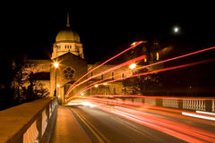 Galway Cathedral. At night moon and traffic trails Royalty Free Stock Image