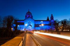 Galway Cathedral lit up blue stock image