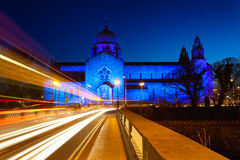 Galway Cathedral lit up blue Royalty Free Stock Image