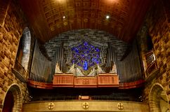 Galway Cathedral, Organ and stained glass windows. Royalty Free Stock Photo