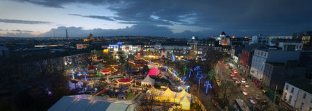 Galway Christmas Market at night. Panoramic view of Galway Continental Christmas Market at night. Ireland Royalty Free Stock Images