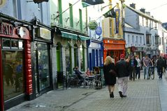 Galway colored street, Ireland stock images