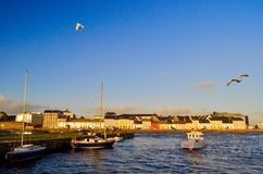 Galway, Ierland Kleurrijke huizen door de haven Stock Afbeeldingen