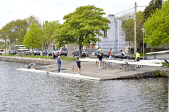 Galway, Ireland April 2017, Kayak club getting ready for sail. In the river side Stock Photo