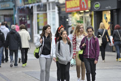 Galway, Ireland July 2017, Group Of Erasmus Students Walking dow. N Shop Street Stock Photos
